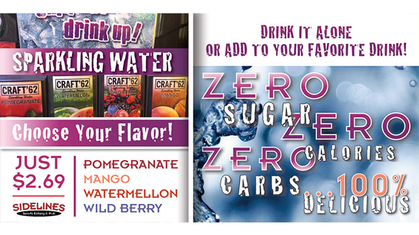 Add sparkling water flavors to your water at Sidelines!